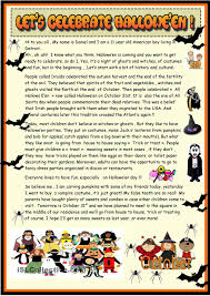 Halloween Worksheets Printable by Lets Celebrate Halloween 2 Page Reading Esl Worksheets Of The