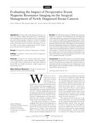 mri guided biopsy breast evaluating the impact of preoperative breast magnetic resonance