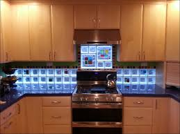 kitchen glass and stone tile glass subway backsplash light blue