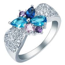 beautiful rings design images Butterfly silver color ring jewelry beautiful shiny design blue jpg