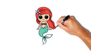 draw paint mermaid ariel easy step step drawing