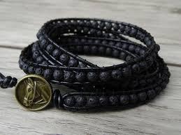 black bead bracelet men images Yoga leather wrap bracelet 4mm black lava bracelet black men boho jpg