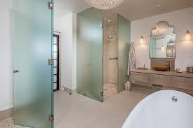 Frosted Glass Shower Door Frameless Contemporary Master Bathroom With Frosted Glass Shower Door
