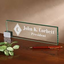 engraved office gifts personalized executive glass name plate 2372 business office