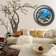 amazon com vktech shark view wall sticker 3d porthole