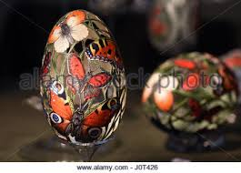 decorated goose eggs decorated eggs on display in covent garden london uk stock photo