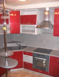 Black And White Kitchen Interior by Kitchen White And Red Cabinetry With Black Granite Countertop