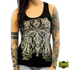 womens motorcycle apparel ripped back with cross and wings tank top biker clothing