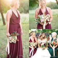 vintage country style bridesmaid dresses 2016 burgundy chiffon