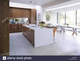 kitchen central island modern open plan kitchen with central island unit stock photo