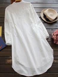 embroidered high low button up tunic shirt dress white long