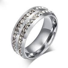 black steel rings images Sz7 11 unisex cz stainless steel ring men women 39 s wedding band jpg