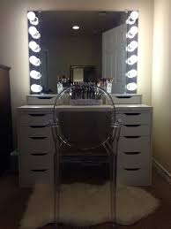 Bedroom Makeup Vanity With Lights Bedroom Narrow Glass Top Makeup Table With Lighted Rectangular
