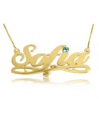 The Name Necklace Gold Vermeil Name Necklace Birthstone Name Necklace The Name
