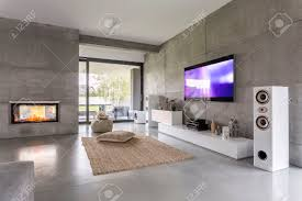 tv living room with window fireplace and concrete wall effect