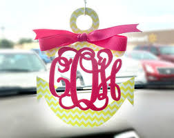 Monogram Charms Monogram Initial Wooden Rearview Mirror Hanger With Bow