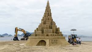 sky high sand castle looking up at world record abc news
