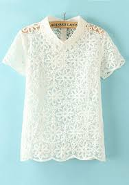 white lace blouses white flowers print hollow out puff sleeve lace blouse blouses