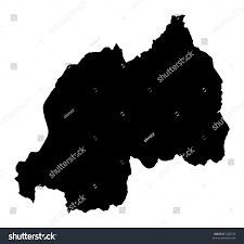 Map Of Rwanda Detailed Map Rwanda Black White Mercator Stock Illustration