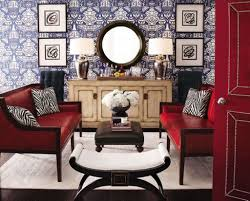 living room with red leather sofa and round mirror ideas to