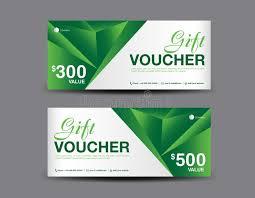 green gift voucher vector illustration green gift voucher coupon design ticket banner cards stock