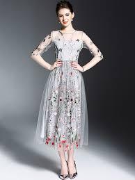 midi dress grey mesh paneled embroidered floral midi dress dees dings i