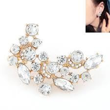 simple earrings design gold color diamond decorated simple design alloy stud