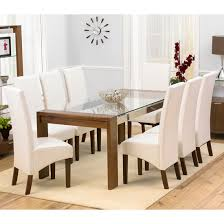 glass dining room table sets arturo rectangle walnut glass top dining table and 8 wng chairs