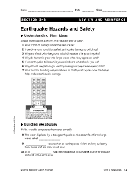 Prentice Hall Inc Science Worksheet Answers Earthquake Hazards And Safety Understanding Main Ideas Building