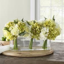 hydrangea centerpiece birch hydrangea centerpiece in glass vase reviews wayfair