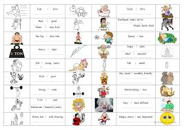 Free Adjective Worksheets 1 Free Esl Adjective Opposite Vocabulary Basic Contrary Worksheets