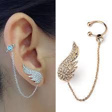 ear clasp austrian angel wing ear cuff earrings metal types