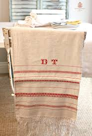 french country linen table runner red stripes monogram dt