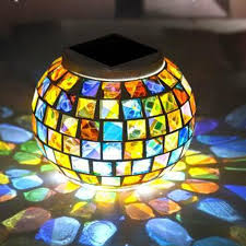 color changing outdoor lights solar power mosaic glass ball garden stake color changing outdoor