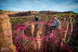 adrenaline junkies suspend a giant hammock 400 feet above ground