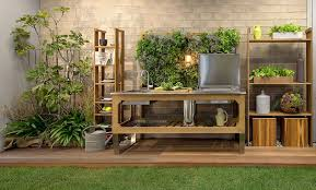 outdoor kitchens by design window steel and wood outdoor kitchen by lgtek outdoor
