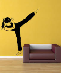 wall decals of people silhouette wall decals stickerbrand vinyl wall decal sticker martial arts girl os mb1005