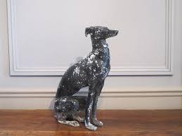 stylish circa 1960s painted metal greyhound garden statues