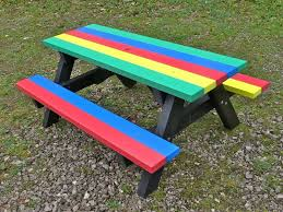 junior multicoloured recycled plastic picnic table ribble range