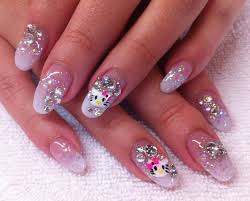almond shaped hello kitty acrylic nails with white tip fade into