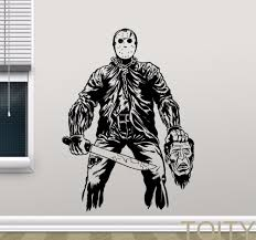 online get cheap wall stickers vinyl horror aliexpress com jason voorhees wall sticker retro horror movies vinyl decal dorm home interior living room art decor removable mural