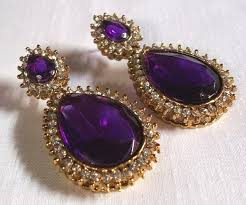 purple earrings pearl drop purple earring zipker