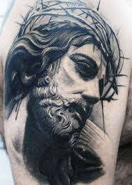 amazing black gray portrait of jesus in a crown of thorns tattoo