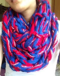 arm knit blue yellow and white infinity scarf by greenbaygal