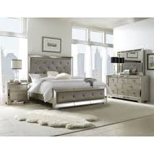 gray bedroom sets celine 6 piece mirrored and upholstered tufted king bedroom set