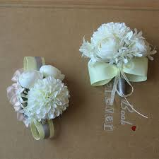white corsages for prom free shipping artificial hydrangea white silk wedding wrist