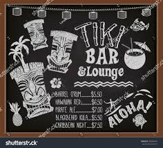 cocktail recipes poster tiki bar lounge chalkboard cocktail menu stock vector 183068216
