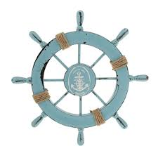 mediterranean nautical wooden boat ship wheel helm home wall party