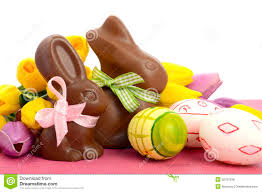 Easter Chocolate Easter Chocolate Bunny Rabbits With Pink White And Green Eggs
