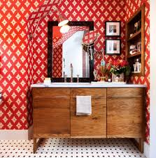 Orange Powder Room Orange County Red Bathroom Vanity Powder Room Asian With Two Toned